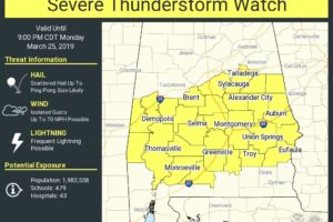 Severe Thunderstorm Watch Issued For The Southern Half Of Central Alabama