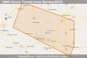 Severe Thunderstorm Warning Issued For Parts Of Greene, Hale, Marengo, And Sumter Counties Until 5:30PM