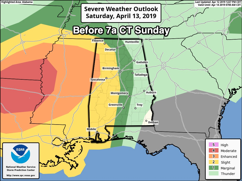 Severe Storms Possible Sunday | The Alabama Weather Blog