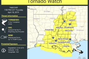 1st Tornado Watch Of The Day Issued For Parts Of Louisiana & Mississippi