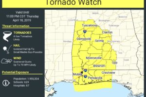 Tornado Watch Issued For Much Of The Western Half Of Central Alabama Until 11:00 PM