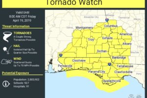 Tornado Watch Until 8 a.m. CDT for South/Southeast Alabama
