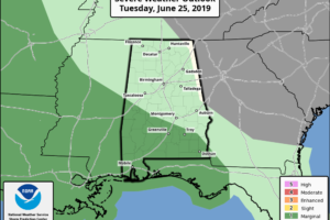 Afternoon Storms Mainly Over South Alabama Today