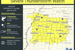 Severe T-Storm Watch Issued For Parts of North/Central Alabama until 6:00 AM