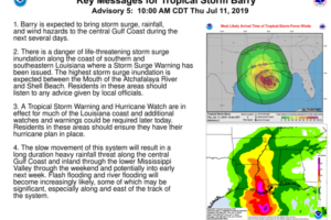 Key Messages for Newly Named Tropical Storm Barry