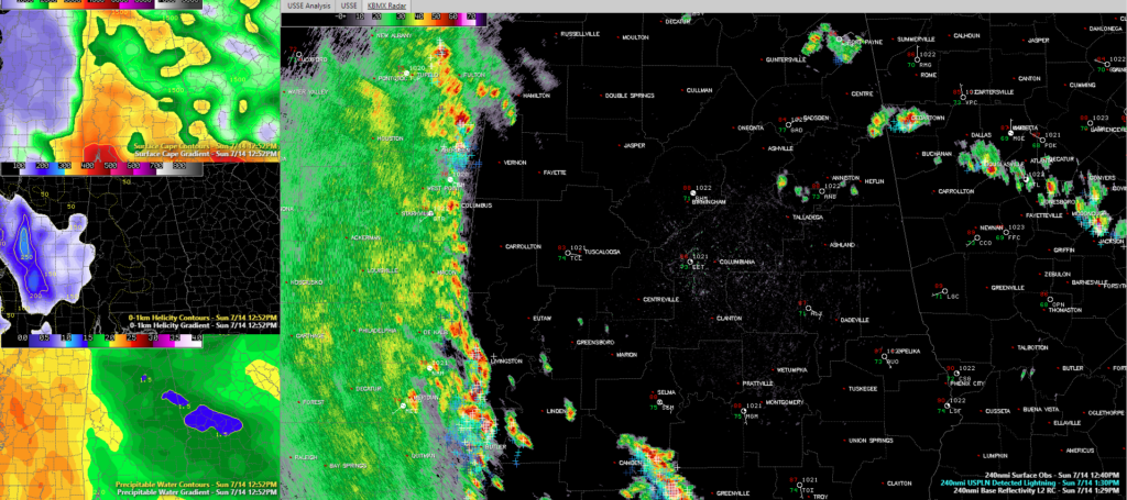 1:30 p m  Alabama Update: Localized Tornado Threat Over West