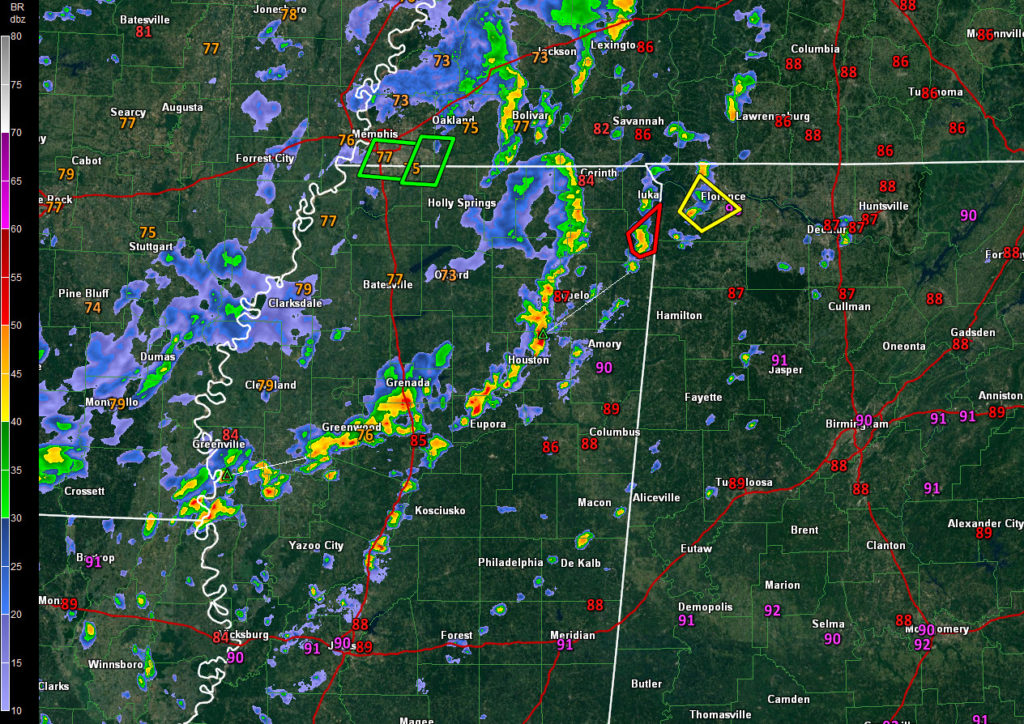 Scattered Storms Firing Across Mississippi, Moving into