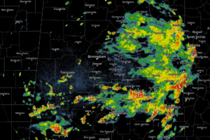 A Few Strong Storms & Heavy Rainfall Across Much Of Central Alabama Just After Midday