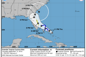 Late Thursday Night Update On PTC-9… Tropical Storm Watches Issued