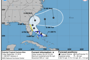 10:00 AM Update On PTC-9, Forecast To Become A Depression Or Storm Later Today