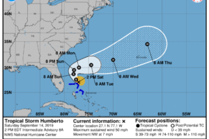Humberto Forecast To Become A Hurricane By Late Sunday Or Early Monday