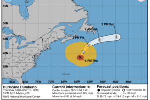 Humberto Expected To Become Post-Tropical Within The Next 6-12 Hours