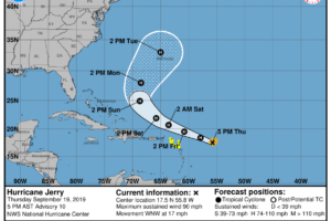Hurricane Jerry Continues To Strengthen, Approaching Category 2