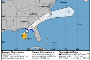 Tropical Storm Nestor Continues To Quickly Move Northeast Toward The Central Florida Peninsula