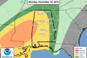 Severe Weather Threat from Late Monday Afternoon into Early Tuesday for Central and North Alabama