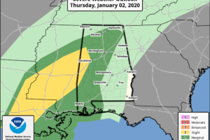 Flood Threat Continues; Strong Storms Possible Over West Alabama