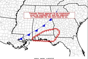 Tornado Threat Maximized Over Southern Alabama For The Next Hour Or So