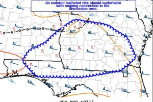 Isolated Damaging Wind Gusts & Hail Possible Southeast Of The Current Severe T-Storm Watch