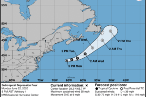 Subtropical Depression Forms Well Offshore of the U.S. East Coast