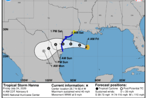 Hanna Headed For Texas; Scattered Storms For Alabama Later Today