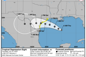 Scattered Storms This Afternoon; Tropical Depression In The Gulf