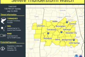 Severe Thunderstorm Watch Issued for Central Alabama