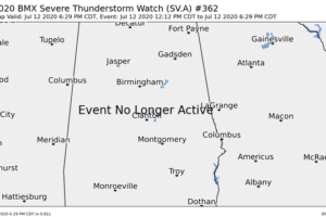 Severe Thunderstorm Watch for Central Alabama Has Been Fully Canceled
