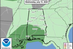 Marginal Risk for Severe Storms Introduced for Extreme Southern Parts of Central Alabama for Today