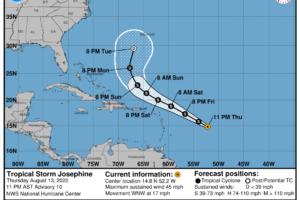 Josephine Heading West-Northwest Over the Tropical Atlantic