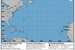 TD-10 Expected to Become a Remnant Low or Dissipate by Tonight