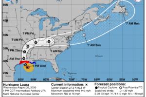 Laura Makes Landfall Tonight; Rain Increasing Over Alabama Friday