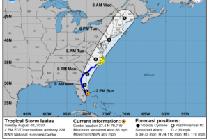 Isaias Continues to Move North-Northwestward Just Offshore of the East-Central Florida Coast
