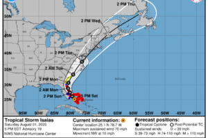 As of the 4:00 pm Update, Isaias Weakens to a Tropical Storm