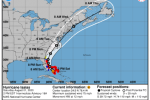 At 1:00 pm, Hurricane Isaias is Emerging Over the Straits of Florida