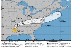 Midday Update: Laura Weakening, Storms Developing
