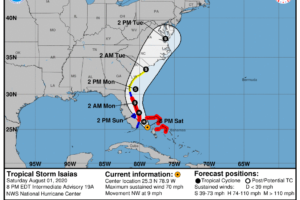 Tropical Storm Isaias Continues to Slowly Approach the Southeast Florida Coast