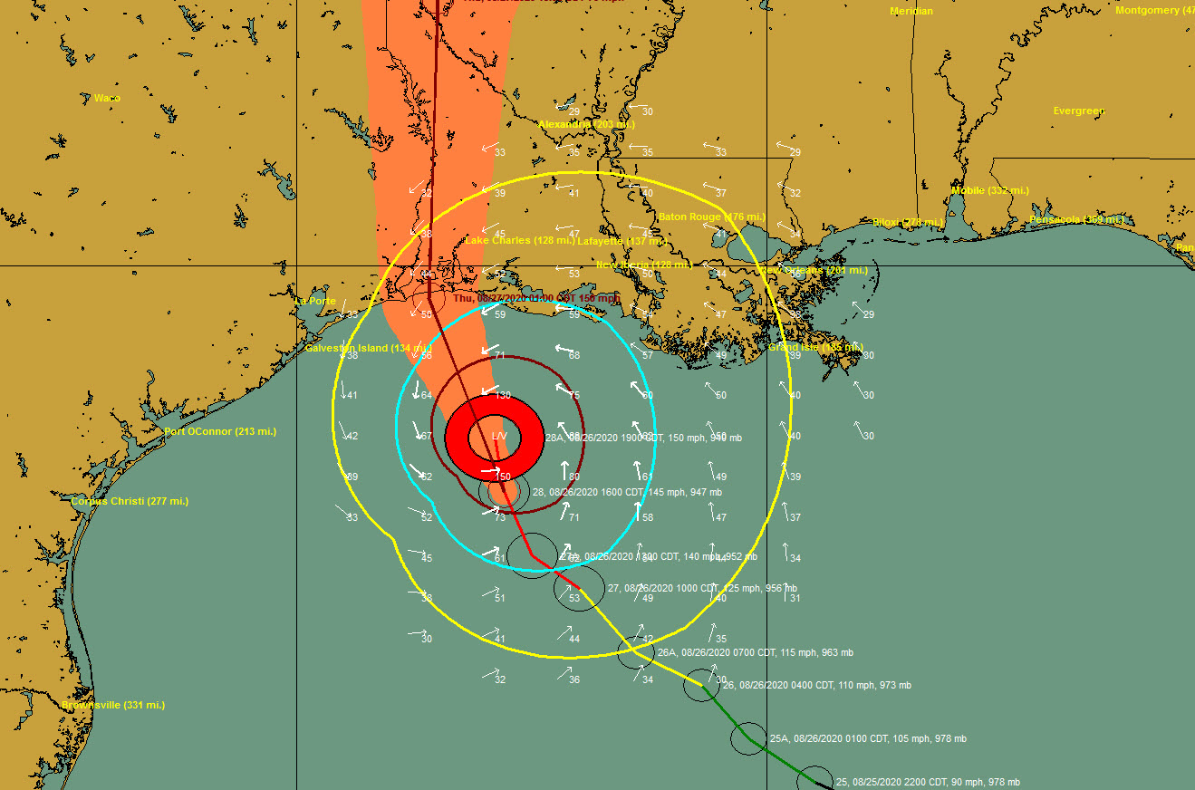 7 P M Advisory Hurricane Laura Up To 150 Mph The Alabama Weather Blog Mobile