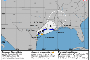 Beta Moving a Little Faster Toward the Texas Coast