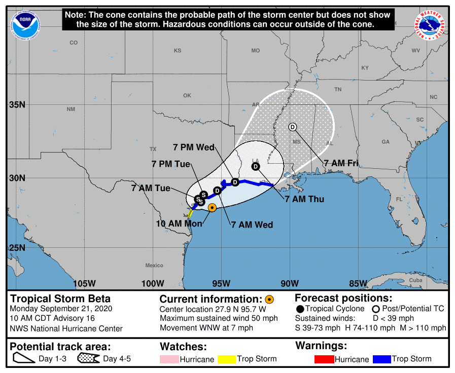 Beta Moving a Little Faster Toward the Texas Coast