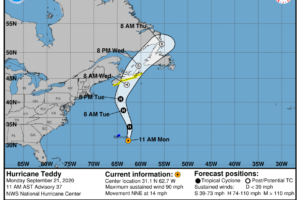Life-Threatening Rip Currents Possible Along the US Atlantic Coast From Hurricane Teddy