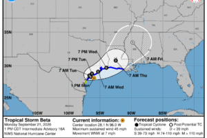 Beta a Little Weaker, Continues to Move Closer to the Coast of Central Texas