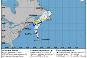 Teddy Accelerating Northward; Tropical Storm Warning Issued for Nova Scotia