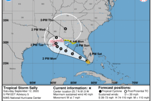 Tropical Storm Sally – Saturday Evening Update