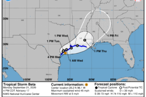 Beta Drenching the Central Texas Coast with Heavy Rains & Tropical-Storm-Force Winds