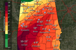Flooding Rain Possible Across Much Of Alabama By Wednesday