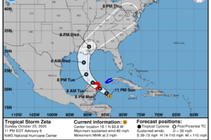 Zeta Continues to Strengthen, Possibly into a Hurricane by Late Monday