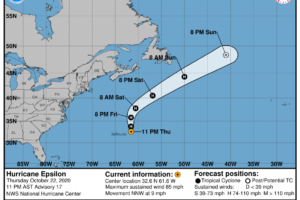 Tropical Storm Warnings Dropped for Bermuda as Epsilon Starts to Move Out to Sea