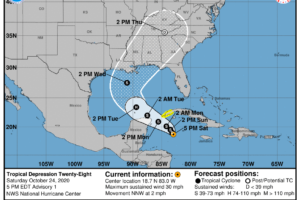 Tropical Depression Twenty-Eight Forms Over the Caribbean; Tropical Storm Watch Issued for Western Cuba