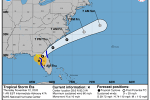 Tropical Storm Eta Moves Even Closer to the West Coast of Florida; Landfall Soon