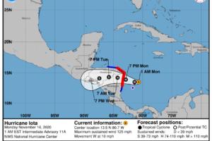 12:00 am Update: Major Jump in Wind Speeds as Iota is Now a Major Hurricane